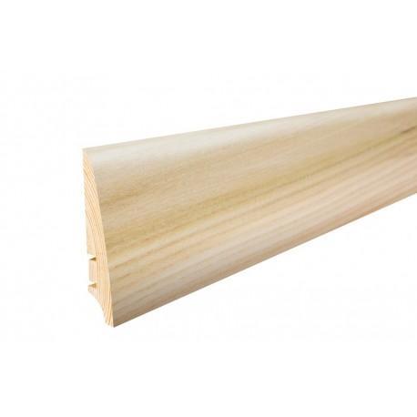 Плинтус напольный Ясень,белый матовый лак, 78х18х2200 мм