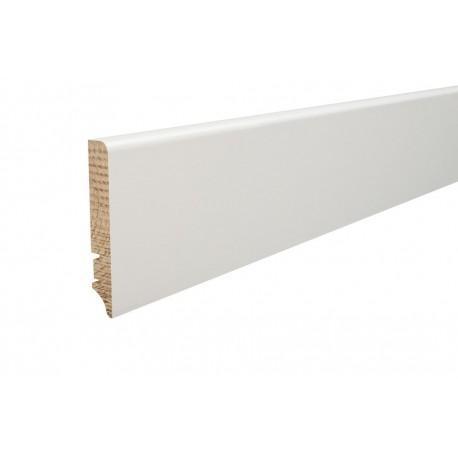 Плинтус напольный покрытий белой пленкой,  90х16х2200 мм